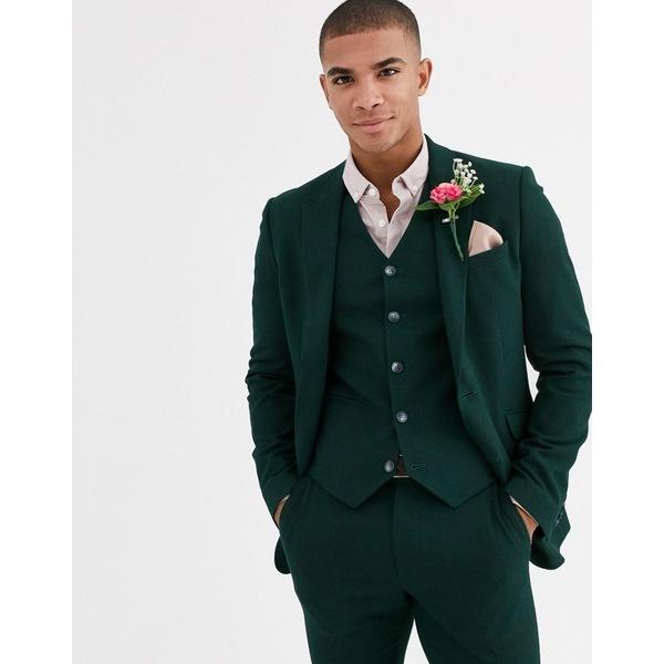 ストア エイソス メンズ アウター ジャケット ブルゾン Green 全商品無料サイズ交換 ASOS 超特価 DESIGN wedding jacket green forest in super suit texture micro skinny