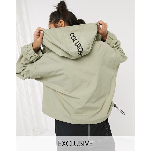 コリュージョン レディース ジャケット&ブルゾン アウター COLLUSION cropped parka jacket in stone Stone