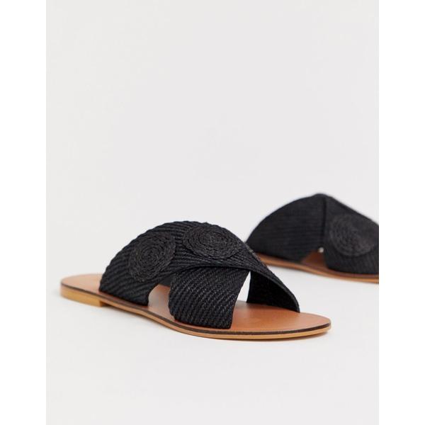 エイソス レディース サンダル シューズ ASOS DESIGN Farid cross strap weave sliders Black