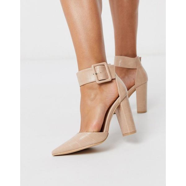 グラマラス レディース ヒール シューズ Glamorous buckle block heeled pumps in pink mock croc Pink