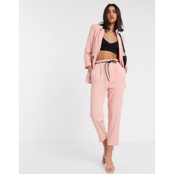 ストラディバリウス レディース カジュアルパンツ ボトムス Stradivarius slouchy tailored pants with faux leather belt in pink Pink