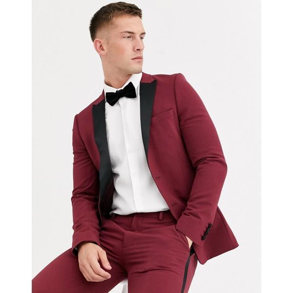 エイソス メンズ ジャケット&ブルゾン アウター ASOS DESIGN super skinny tuxedo jacket in burgundy Burgundy