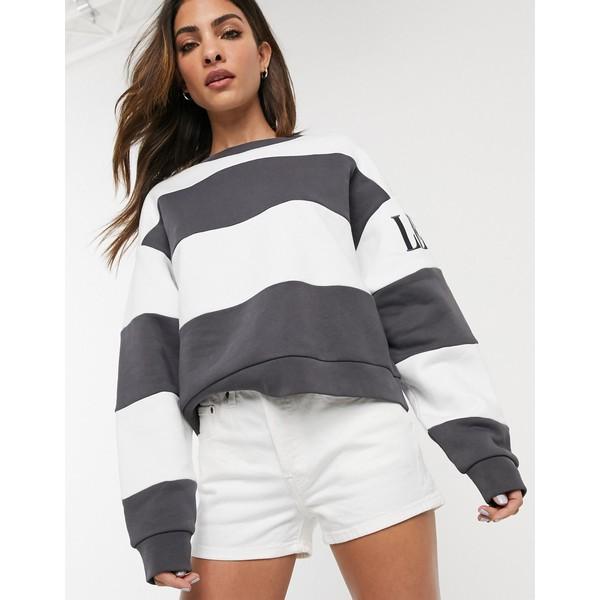 リーバイス レディース パーカー・スウェットシャツ アウター Levi's stripe sweatshirt with sleeve logo Haley forged iron/