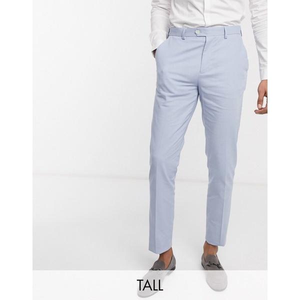 ジアーフラウド メンズ カジュアルパンツ ボトムス Gianni Feraud Wedding Tall linen slim fit suit pants Light blue