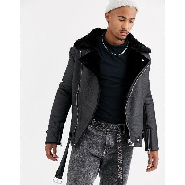 シックスジュン メンズ ジャケット&ブルゾン アウター Sixth June faux shearling biker jacket in black Black