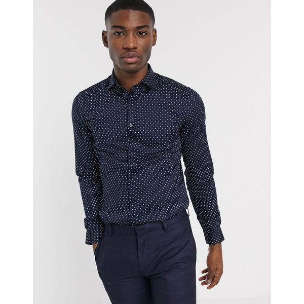 ジャック アンド ジョーンズ メンズ シャツ トップス Jack & Jones Premium super slim fit shirt in navy polka dot Navy blazer