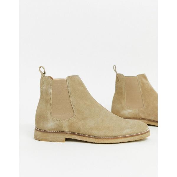 ウォークロンドン メンズ ブーツ&レインブーツ シューズ Walk London hornchurch chelsea boots in stone suede Stone