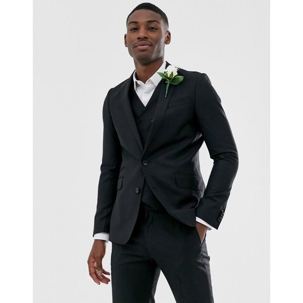 エイソス メンズ ジャケット&ブルゾン アウター ASOS DESIGN wedding slim suit jacket in black 100% wool Black