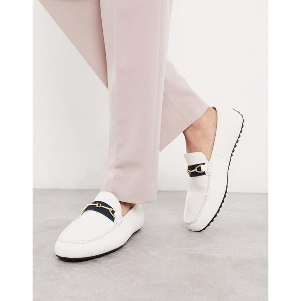 エイソス メンズ スニーカー シューズ ASOS DESIGN driving shoes in white faux leather and tape detail White