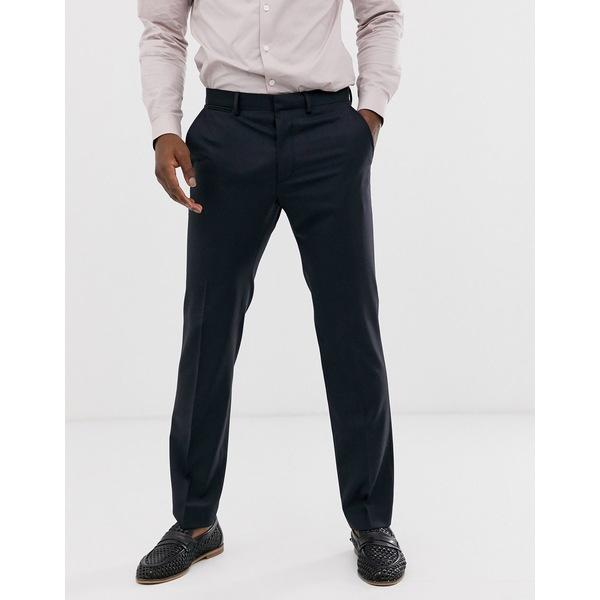 エイソス メンズ カジュアルパンツ ボトムス ASOS DESIGN wedding 100% wool slim suit pants in navy Navy