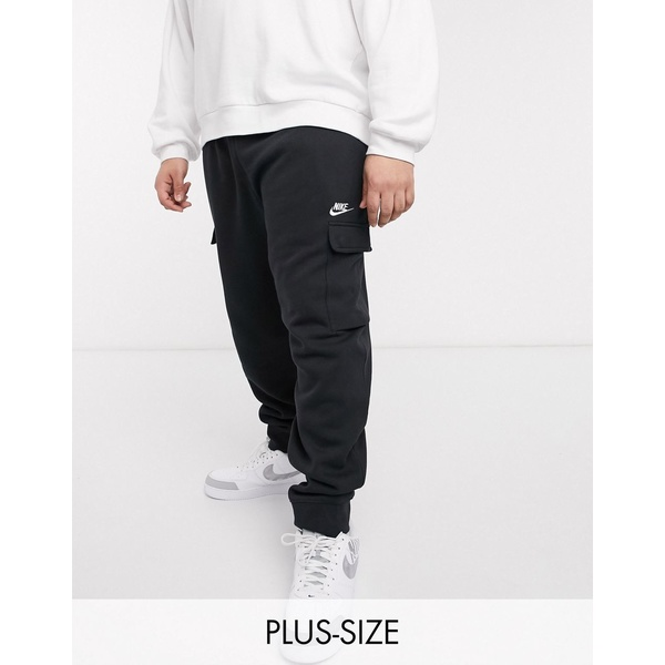 ナイキ メンズ カジュアルパンツ ボトムス Nike Club Plus cuffed cargo sweatpants in black Black