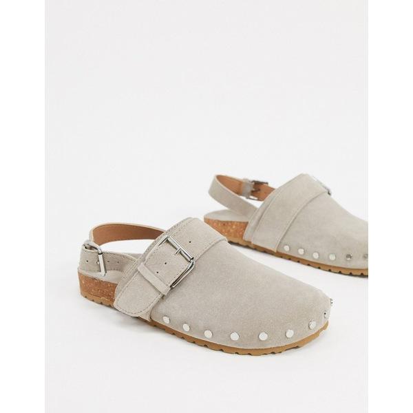 エイソス レディース スニーカー シューズ ASOS DESIGN Millennium suede studded flat shoes in gray Gray suede