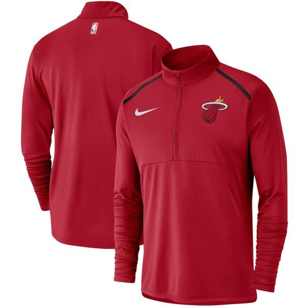 ナイキ メンズ ジャケット&ブルゾン アウター Miami Heat Nike Element Performance HalfZip Pullover Jacket Red