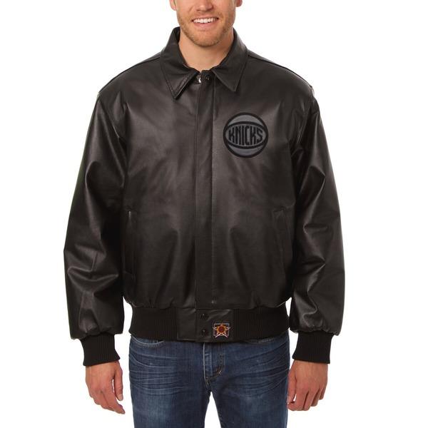 ジェイエイチデザイン メンズ ジャケット&ブルゾン アウター New York Knicks JH Design Tonal Leather FullZip Jacket Black