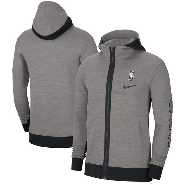 ナイキ メンズ ジャケット&ブルゾン アウター Portland Trail Blazers Nike Authentic Showtime Performance FullZip Hoodie Jacket Heathered Charcoal
