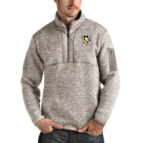 アンティグア メンズ ジャケット&ブルゾン アウター Pittsburgh Penguins Antigua Fortune Half-Zip Pullover Jacket Oatmeal