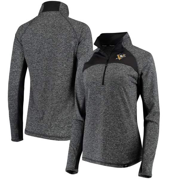 ファナティクス レディース ジャケット&ブルゾン アウター Pittsburgh Penguins Fanatics Branded Women's Static Quarter-Zip Jacket Heathered Black