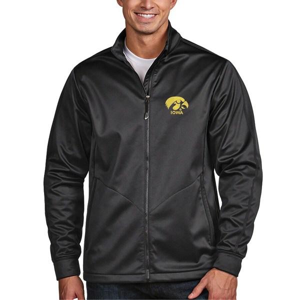 アンティグア メンズ ジャケット&ブルゾン アウター Iowa Hawkeyes Antigua Golf Full-Zip Jacket Charcoal