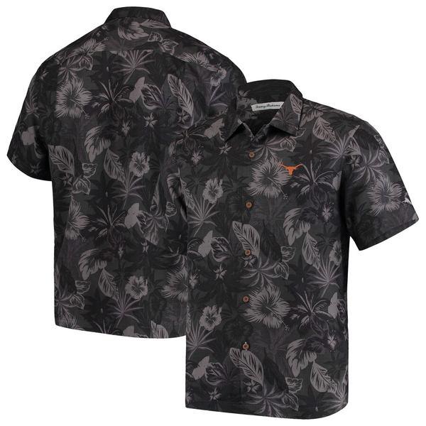 トッミーバハマ メンズ シャツ トップス Texas Longhorns Tommy Bahama Fuego Floral Silk Camp Shirt Black