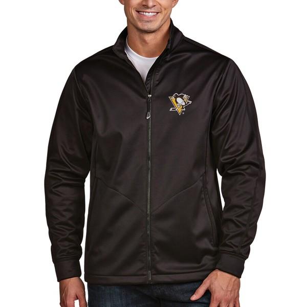 アンティグア メンズ ジャケット&ブルゾン アウター Pittsburgh Penguins Antigua Full Zip Golf Jacket Black