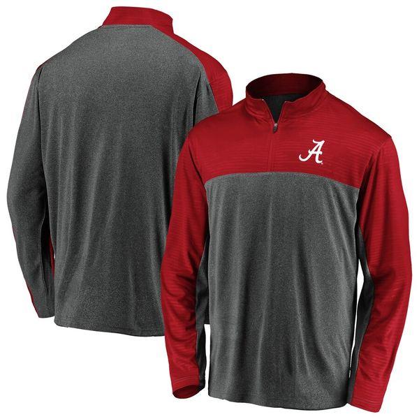 ファナティクス メンズ ジャケット&ブルゾン アウター Alabama Crimson Tide Fanatics Branded Mock Neck Quarter-Zip Pullover Jacket Charcoal/Crimson