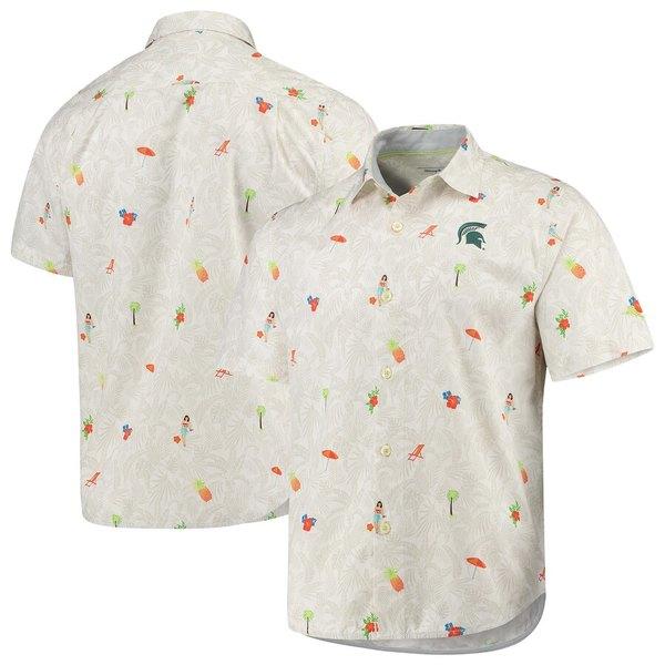トッミーバハマ メンズ シャツ トップス Michigan State Spartans Tommy Bahama College Beach-Cation Button-Up Shirt White