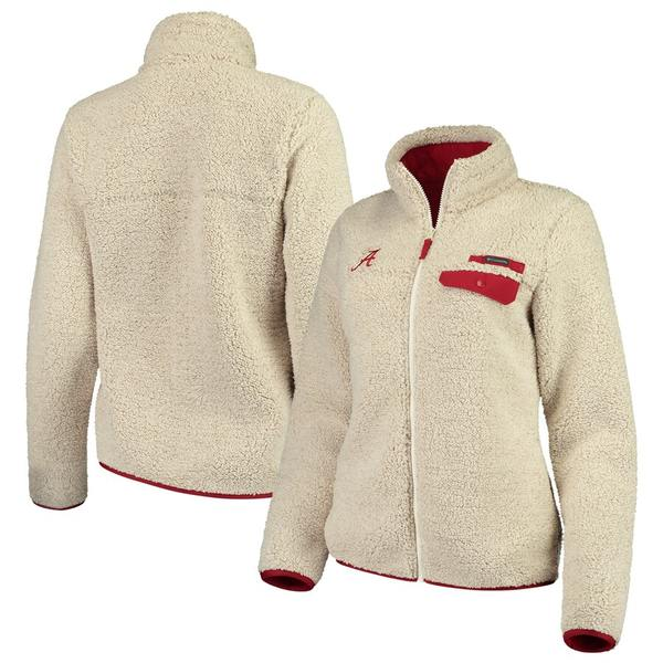 コロンビア レディース ジャケット&ブルゾン アウター Alabama Crimson Tide Columbia Women's Mountain Side Sherpa Fleece Full-Zip Jacket Cream