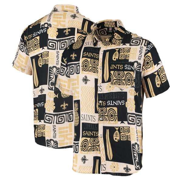 フォコ メンズ シャツ トップス New Orleans Saints Tiki Floral Button-Up Woven Shirt Black/Gold