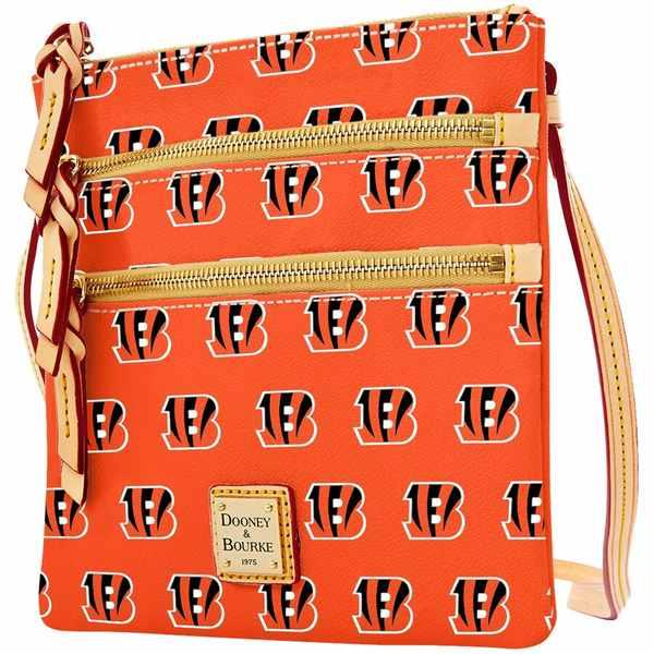 ドーネイアンドバーク レディース バックパック・リュックサック バッグ Cincinnati Bengals Dooney & Bourke Women's Triple Zip Crossbody Purse Orange