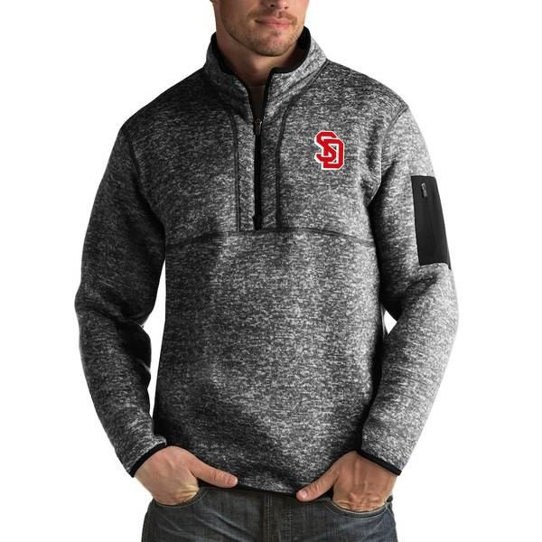 アンティグア メンズ ジャケット&ブルゾン アウター South Dakota Coyotes Antigua Fortune Big & Tall Quarter-Zip Pullover Jacket Black