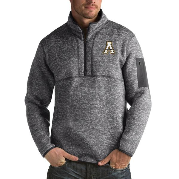 アンティグア メンズ ジャケット&ブルゾン アウター Appalachian State Mountaineers Antigua Fortune Big & Tall Quarter-Zip Pullover Jacket Charcoal