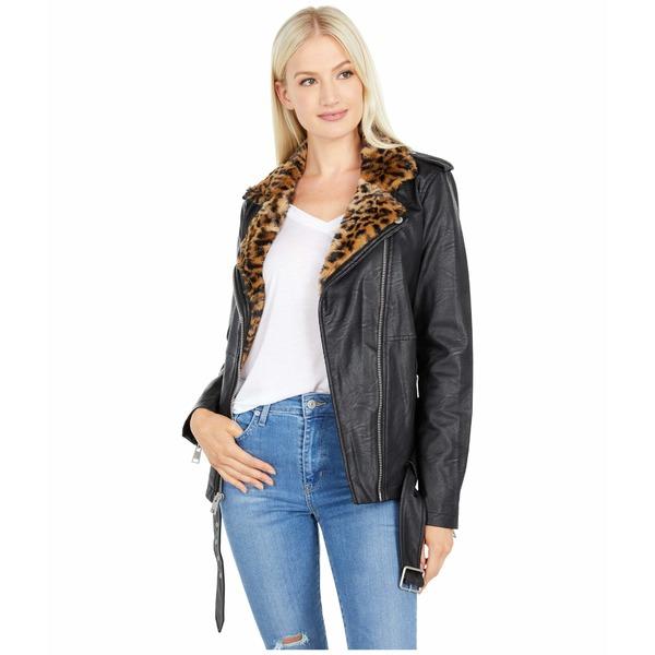 リーバイス レディース コート アウター Oversized Faux Leather Moto w/ Faux Fur Lined Lapels Black/Cheetah
