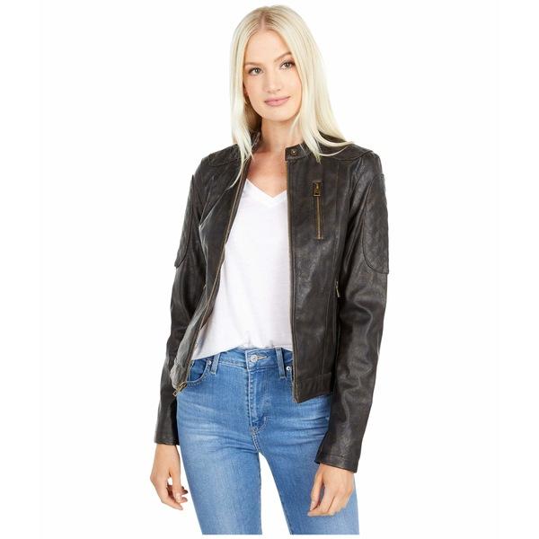 リーバイス レディース コート アウター Classic Asymmetrical Faux Leather Motorcycle Jacket Medium Brown