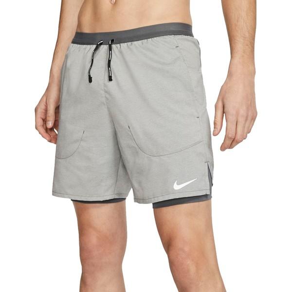 Men's ナイキ ボトムス Grey/Iron ハーフ&ショーツ メンズ 2-in-1 - Grey/Heather/Reflective Iron Short Flex Silv 7in Stride