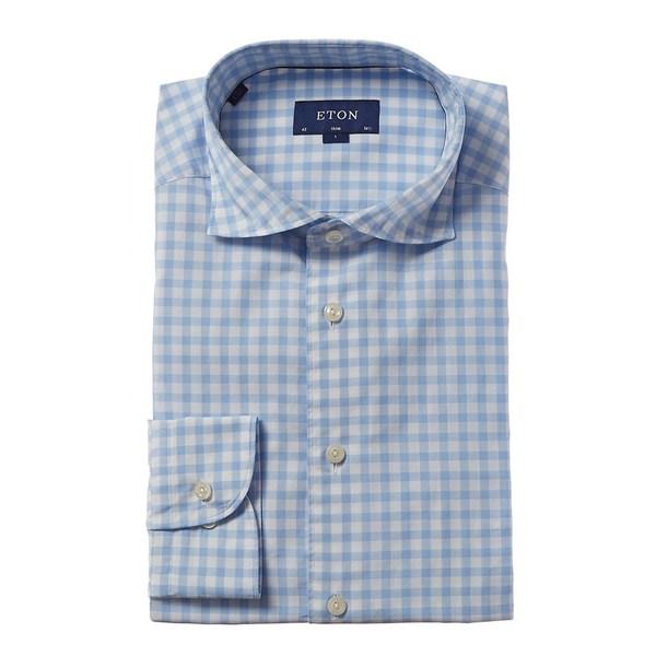 エトン メンズ トップス シャツ light 大規模セール blue 激安通販販売 gingham Slim Eton Dress Fit Shirt 全商品無料サイズ交換