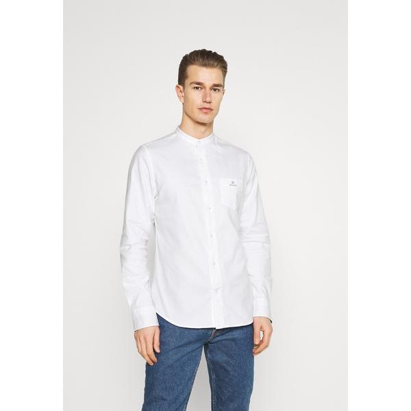 ガント メンズ トップス シャツ white 全商品無料サイズ交換 直営限定アウトレット SLIM qscn01a4 BAND - COLLAR Shirt BRUSHED 評価