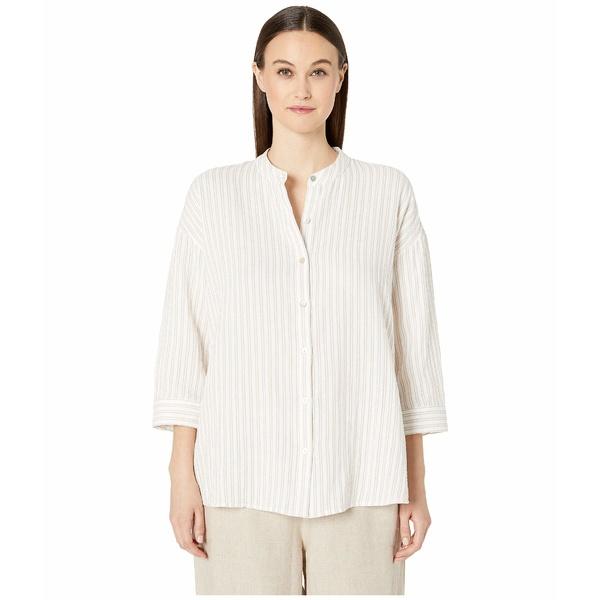 エイリーンフィッシャー レディース シャツ トップス Organic Cotton Gauze Mandarin Collar 3/4 Sleeve Boxy Shirt Khaki