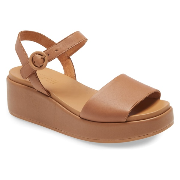 カンペール レディース サンダル シューズ Camper Misia Platform Wedge Sandal (Women) Dark Beige Leather