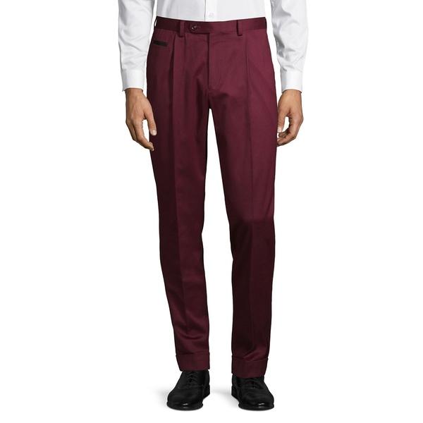 タリアオレンジ メンズ カジュアルパンツ ボトムス Front-Pleat Cotton Pants Burgundy
