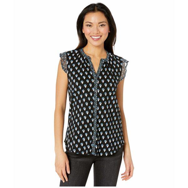 ラッキーブランド レディース シャツ トップス Sleeveless Button-Up Woodblock Printed Top Black Multi