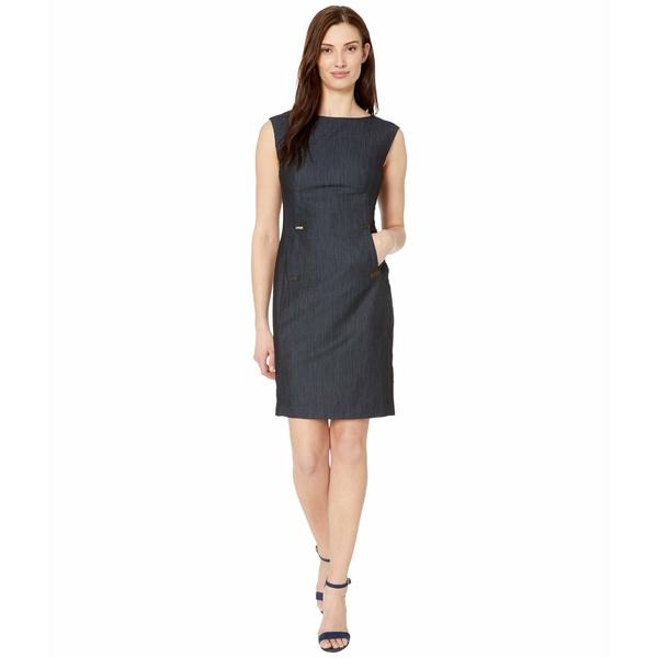 カルバンクライン レディース ワンピース トップス Rayon Denim Sheath Dress with Hardware Detail Blue