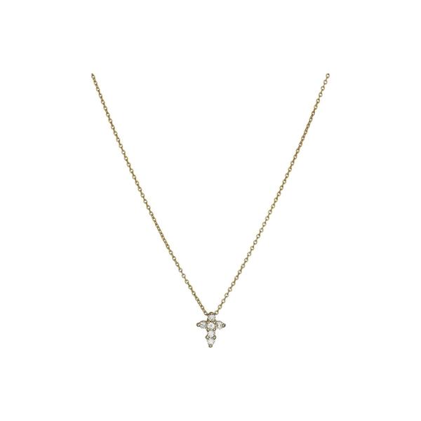 ロバートコイン レディース ネックレス・チョーカー・ペンダントトップ アクセサリー Tiny Treasures Baby Cross Pendant With Diamonds Yellow