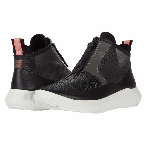 エコー レディース スニーカー シューズ ST.1 Lite Mid Cut Zip Sneaker Black Cow Leather