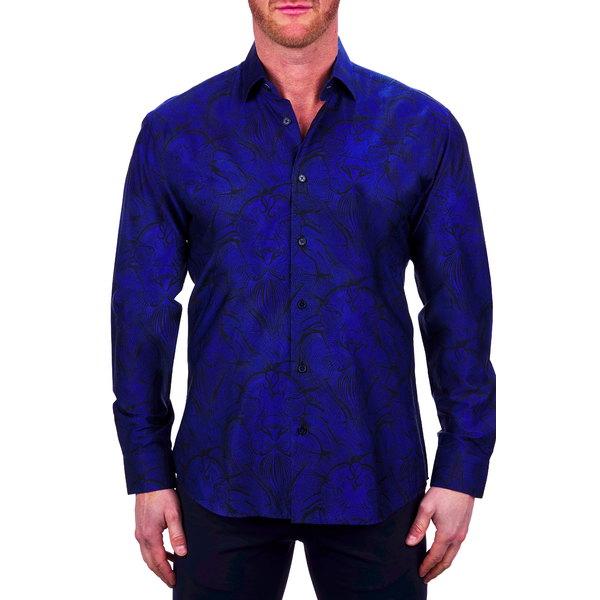 マセオ メンズ シャツ トップス Fibonacci Lionconnected Blue Button-Up Shirt Blue