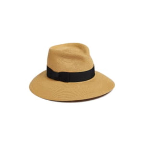 エリックジャヴィッツ レディース ヘアアクセサリー アクセサリー 'Phoenix' Packable Fedora Sun Hat Natural/ Black