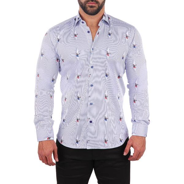 マセオ メンズ シャツ トップス Fibonacci Curious Pug Button-Up Shirt White