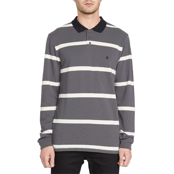 ボルコム メンズ ポロシャツ トップス Volcom Bracer Long Sleeve Stripe Piqu Polo Asphalt Black