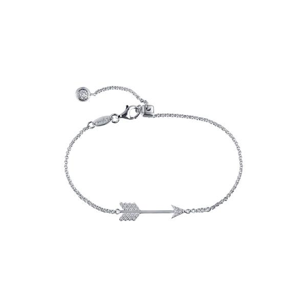 セール品 ラフォン レディース アクセサリー ブレスレット バングル アンクレット WHITE 全商品無料サイズ交換 Pave Diamond 当店一番人気 Sterling Arrow Silver Simulated Bonded Bracelet