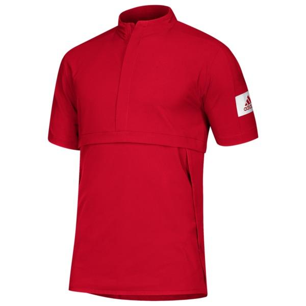 アディダス メンズ ジャケット&ブルゾン アウター Team Game Mode S/S 1/4 Zip Jacket Power Red/White
