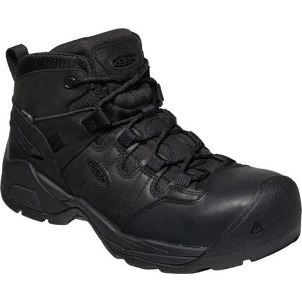 キーン メンズ ブーツ&レインブーツ シューズ Detroit XT Mid Steel Toe Waterproof Work Boot Black/Black Waterproof Leather